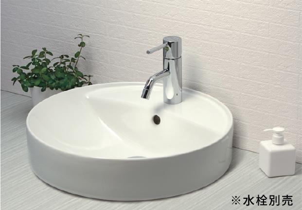 *KVK* KV848QCTR ポップアップ用穴付 丸型 洗面器 ピュアホワイト 水栓別売〈送料・代引無料〉