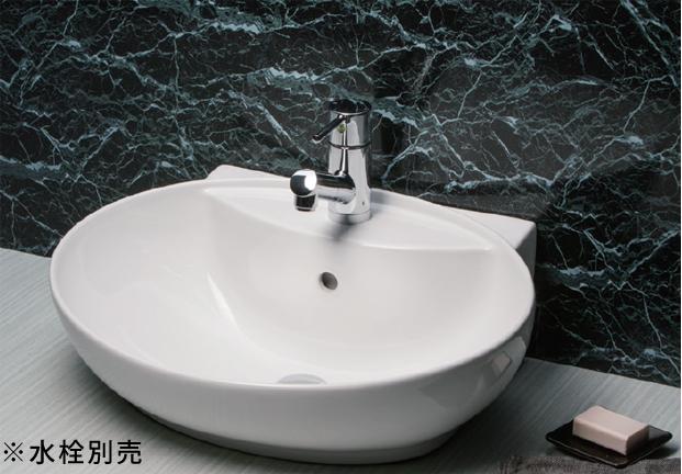 *KVK* KV880KVCTR ポップアップ用穴付 オーバル型 洗面器 ピュアホワイト 水栓別売〈送料無料/代引不可〉