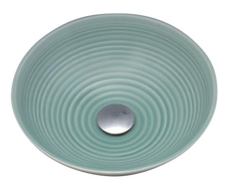 *KVK* KV47A 青磁/六兵 美術工芸手洗鉢 陶器製 手洗器 水栓別売〈送料無料/代引不可〉