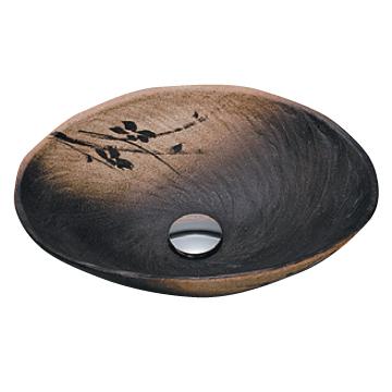 *KVK* KV204S 黒釉小判 信楽焼 美術工芸手洗鉢 陶器製 手洗器 水栓別売〈送料無料/代引不可〉
