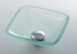 *KAKUDAI*493-029-C ガラス角型手洗器 [クリア]