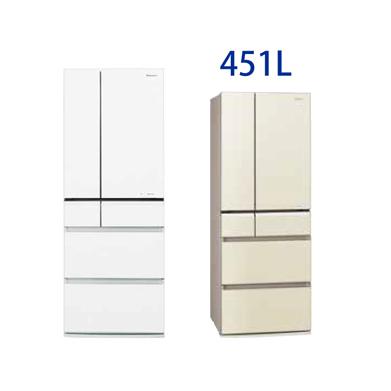 *パナソニック*NR-J45KG フルフラットガラスドア冷蔵庫 451L 【メーカー直送のみ&設置配送無料】