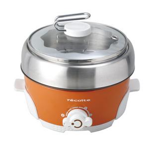 グリル鍋/電気鍋〈送料無料〉*レコルト*ポットデュオ エスプリ RPD-2[OR] オレンジ コンパクト おしゃれ ギフト 一人鍋 小型 レシピ付