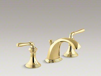 *Kohler*【正規輸入品/保証付】デボンシャー 2ハンドルワイドスプレッド 洗面用水栓 K-394-4-PB バイブラントポリッシュドブラス〈送料無料〉