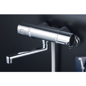 *KVK水栓金具* FTB100KR2T 240mmパイプ付 サーモスタット式シャワー 浴室用水栓 eシャワー〈送料無料/代引不可〉