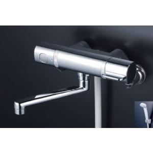*KVK水栓金具* FTB100KWR3T 300mmパイプ付 サーモスタット式シャワー 浴室用水栓 eシャワー〈送料無料/代引不可〉