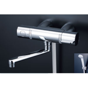*KVK水栓金具* FTB100KWKST 170mmパイプ付 サーモスタット式シャワー(スカートソケットタイプ) eシャワー〈送料無料/代引不可〉