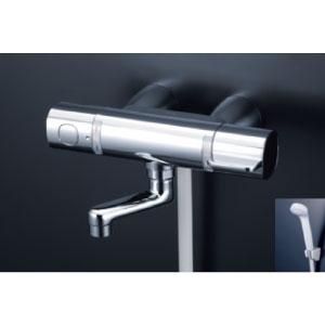 *KVK水栓金具* FTB100KKSR8T 80mmパイプ付 サーモスタット式シャワー(スカートソケットタイプ) eシャワー〈送料・代引無料〉