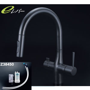 *KVK水栓金具* KM6081SCVECM5 浄水器付シングルレバー式シャワー付混合栓 マットブラック キッチン用水栓 吐水口回転規制110°・80°対応 eレバー〈送料無料/代引不可〉