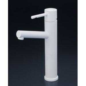 *KVK水栓金具* KM7041LM4 洗面用シングルレバー式混合栓ロングボディ 洗面用水栓 マットホワイト〈送料無料/代引不可〉