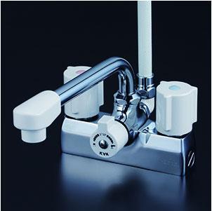 *KVK水栓金具* KF205ZN デッキ形一時止水付2ハンドルシャワー 寒冷地用〈送料無料・代引不可〉