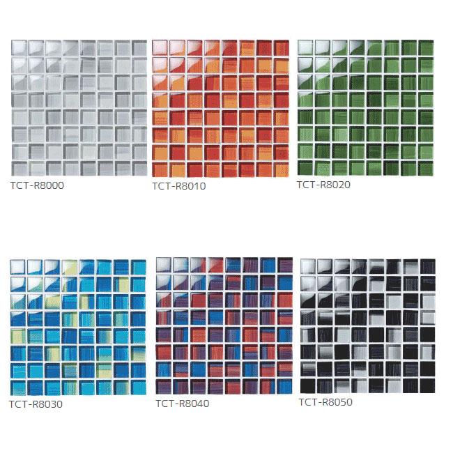 *名古屋モザイク*TCT-R8000-TCT8050 23mmx23mm アートモザイクタイル アンファングラス 12個x12個 11シート入〈メーカー直送/代引・後払不可〉