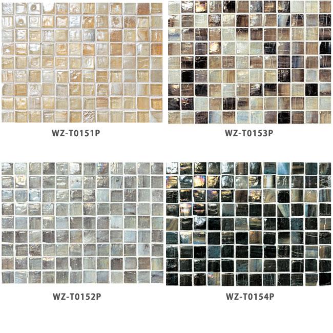 *名古屋モザイク*WZ-T0151P-WZ-T0154P 15x15mm  アートモザイクタイル ニューヨーカーグラス 20x20個 20シート入〈メーカー直送/代引・後払不可〉