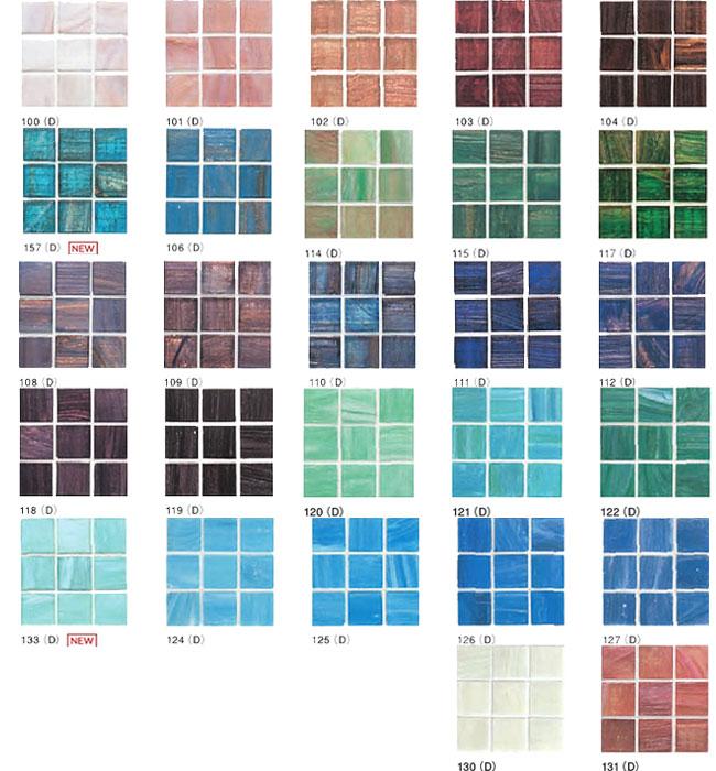 *名古屋モザイク*SEL-20-100(D) -SEL-20-131(D) 20x20mm アートモザイクタイル シエルグラス コラル 15x15個 20シート入〈メーカー直送/代引・後払不可〉