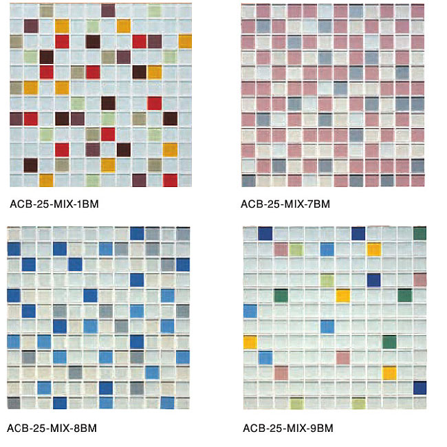 *名古屋モザイク*ACB-25-MIX-1BM-9BM アートモザイクタイル aキューブ 25角ブライトマットミックス貼り 12x12個 23シート入〈メーカー直送/代引・後払不可〉