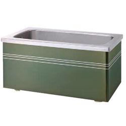 *JFE*KSHG120X ステンレス浴槽 KSHGシリーズ 2方全エプロン ストレート据置タイプ[満水350L] グリーン