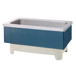 *JFE*KSWB120X ステンレス浴槽 KSWBシリーズ 2方半エプロン ストレート埋込タイプ[満水350L] 水玉ブルー
