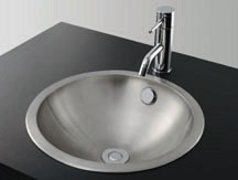 *KAKUDAI*洗面用ステンレス丸型洗面器ヘアライン仕上げ 493-042