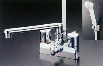 *KVK水栓金具*浴室用水栓デッキ形一時止水付2ハンドルシャワーKF205G[2007年7月発売]