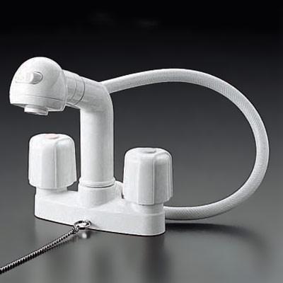【3年保証無料】*KVK水栓金具*洗面用水栓2ハンドル洗髪シャワー[ゴム栓付]KF64【代引不可】