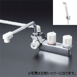 *KVK*KF207ZR3/KF207ZRR3 水栓金具 デッキ形一時止水付2ハンドルシャワー[寒冷地用]300mmパイプ付【代引不可】