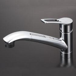 【3年保証付】*KVK*KM5031ZJT 水栓金具 流し台用シングルレバー式シャワー付混合栓 上施工タイプ 寒冷地仕様