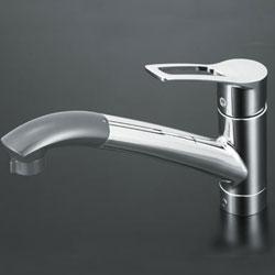 【3年保証付】*KVK*KM5031J 水栓金具 流し台用シングルレバー式シャワー付混合栓 上施工タイプ