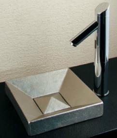 *KAKUDAI* 493-058-T Luju[瑠珠] 角型手洗器 白銀【送料・代引無料】