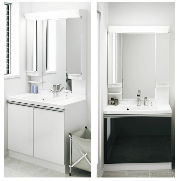 *アサヒ衛陶*SLKR900KF/SLKR900KMU[C][W/B]+M933LH 洗面化粧台上下セット RESTA 間口900mm