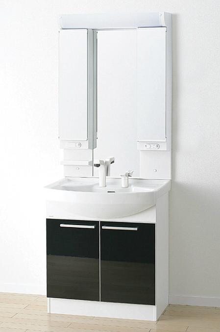 *アサヒ衛陶*LK3711KU[B/W]+M733LH 洗面化粧台上下セット ワイド3面鏡 Kシリーズ 間口750mm
