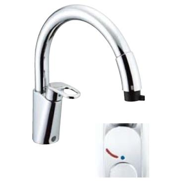 *INAX* キッチン用吐水口引出式[ハンドシャワー付] シングルレバー混合栓 グースネック[エコハンドル] SF-HM451SYX[N]