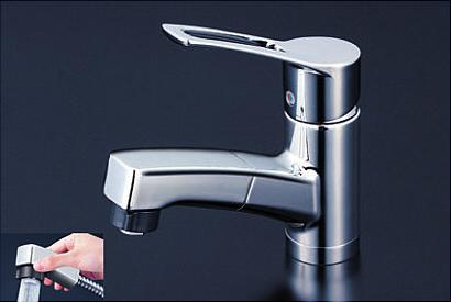 *KVK水栓金具* 洗面用シングルレバー式シャワー付混合栓 KM8001ZTF 寒冷地用【送料無料/代引不可】