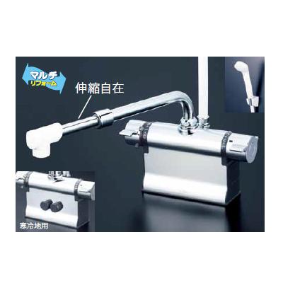 *KVK水栓金具*浴室用水栓 バス水栓 KF3011TSJ デッキ形サーモスタット式シャワー 伸縮自在パイプ付 一般地用【送料・代引無料】