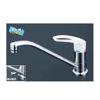 *KVK水栓金具*キッチン水栓 KM5011U/KM5011ZU 取付穴兼用型・流し台用シングルレバー式混合栓 マルチリフォーム水栓【送料・代引無料】