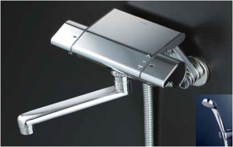 *KVK水栓金具*KF850WR1 寒冷地用 サーモスタット式 浴室用シャワー水栓 eシャワーNf〈送料・代引無料〉