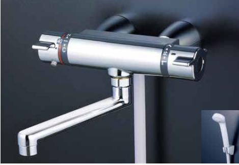 *KVK水栓金具*KF800WTG 寒冷地用 サーモスタット式 浴室用シャワー水栓 スカートソケットタイプ eシャワーNf〈送料・代引無料〉
