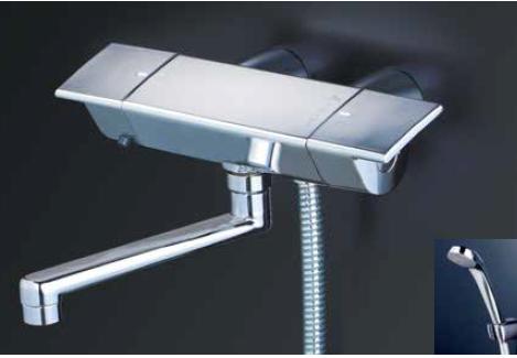 *KVK水栓金具*KF3050WGR1 寒冷地用 サーモスタット式 浴室用シャワー水栓 スカートソケットタイプ eシャワーNf〈送料・代引無料〉