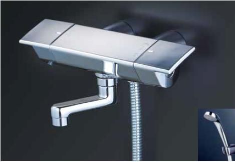 *KVK水栓金具*KF3050WGN 寒冷地用 サーモスタット式 浴室用シャワー水栓 スカートソケットタイプ eシャワーNf〈送料・代引無料〉