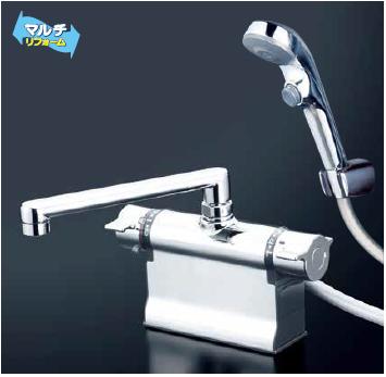 *KVK水栓金具*KF3011TR3S2 デッキ形 サーモスタット式 浴室用シャワー水栓 eシャワーNf〈送料・代引無料〉