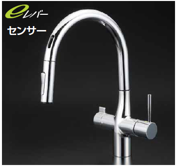 *KVK水栓金具*KM6091EC センサー付 シャワー引出タイプ ビルトイン浄水器専用 シングルレバー水栓〈送料・代引無料〉