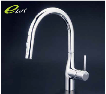 *KVK水栓金具*KM6061V11EC グースネック 流し台用 キッチン シングルレバー式シャワー付混合栓〈送料・代引無料〉