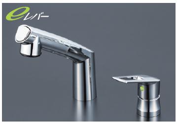 *KVK水栓金具*KM5271ZTCNEC 寒冷地仕様 ヒートン付 洗面用 シャワー引出タイプ シングルレバー式洗髪シャワー水栓〈送料・代引無料〉