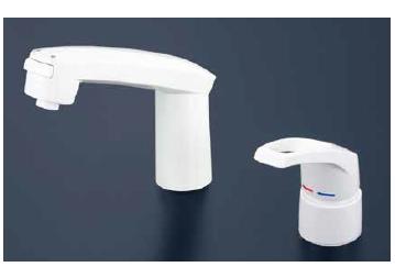 *KVK水栓金具*KM8007S2CN ヒートン付 洗面用 シャワー引出タイプ シングルレバー式洗髪シャワー水栓〈送料・代引無料〉
