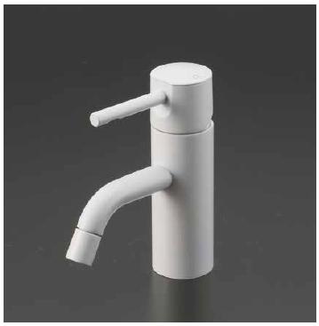 *KVK水栓金具*KM7021M4 マットホワイト Color Series 洗面用 シングルレバー式混合栓〈送料・代引無料〉