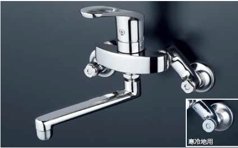 *KVK水栓金具*KM5000ZTA 寒冷地仕様 ハンドル湯側回転角度規制タイプ 流し台用 キッチン シングルレバー式混合栓〈送料・代引無料〉