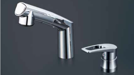 *KVK水栓金具*KM5271TA ハンドル湯側回転角度規制タイプ 洗面用 シングルレバー洗髪シャワー式混合栓〈送料・代引無料〉