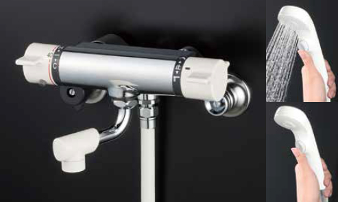 *KVK水栓金具*KF800WNYS2 寒冷地仕様 高温出湯温度規制 浴室用 サーモスタット式シャワー水栓〈送料・代引無料〉