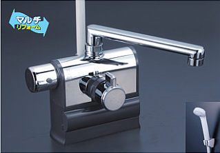 *KVK水栓金具* KF3008L 190mmパイプ仕様 可変ピッチ式サーモスタットシャワー 左ハンドル仕様 デッキ形〈送料・代引無料〉