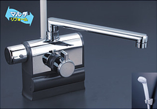 *KVK水栓金具* KF3008LR2 240mmパイプ仕様 可変ピッチ式サーモスタットシャワー 左ハンドル仕様 デッキ形〈送料・代引無料〉