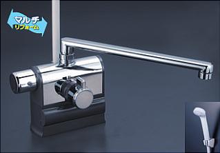 *KVK水栓金具* KF3008LR3 300mmパイプ仕様 可変ピッチ式サーモスタットシャワー 左ハンドル仕様 デッキ形〈送料・代引無料〉